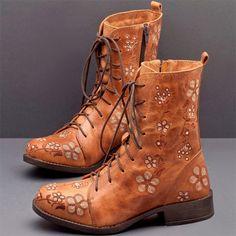 Designer Lostisy LOSTISY Women Retro Flowers Embroidered Leather Strappy Zipper Block Heel Mid Calf Boots - NewChic
