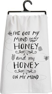 "We raise bees and I always have my mind on honey. It's so good on everything and so good for you! And my honey... that's a given! 28"" square Cotton"