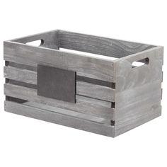 Petite caisse en bois avec tableau, # - basket and crate - Decor Crate Bookshelf, Bookshelves Kids, Small Wooden Crates, Crate Decor, Home Decor Baskets, Stylish Home Decor, Blackboards, Window Coverings, Storage Baskets