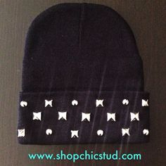 cfe23d9d488 Items similar to Studded Beanie - Mixed Size Studs - Black or Gray Beanie  Hat - Gold