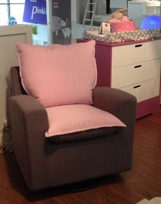 Fabulous pink & brown Capuccino glider from Dutailier, with Biscotti casegood in background, at PinkiBlue, Montreal. Gliders, Pink Brown, Biscotti, Montreal, Nursery Decor, Armchair, Furniture, Home Decor, Sofa Chair