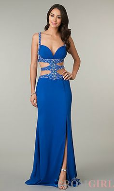 Floor Length Sleeveless Dress with Side and Back Cut Outs at PromGirl.com