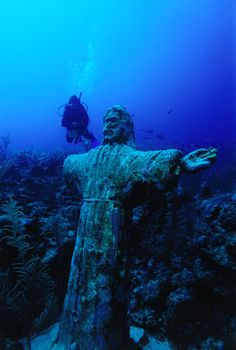 Underwater statue of Christ on the reef near Ambergris Caye. [Lonely Planet]
