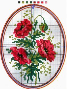 Παπαρούνες για κέντημα / Cross stitch poppies