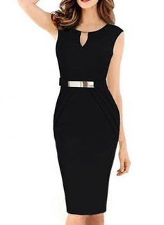 Women Summer Dress New Fashion Hollow Out Sleeveless Pencil Dress Knee Length Black Pencil Dress, Lil Black Dress, Elegant Dresses, Pretty Dresses, Business Casual Womens Fashion, Slim Fit Dresses, Summer Dresses For Women, Mode Style, New Dress