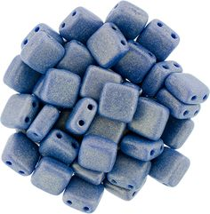 250-66-MSG3320 CzechMates Tile Bead 6mm : Sueded Gold Opaque Blue