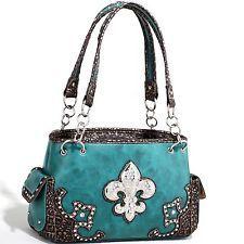 Women's Fashion Western Handbag w/ Fleur de Lis Adornment Metallic Trim Blue.  See more styles at http://stores.ebay.com/jodezegiftsnmore