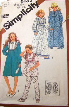 Girls' Pajamas, Nightgown in Two Lengths, Robe and Slippers Girl Size Large Simplicity Sewing Pattern 6132 Uncut Clothing Patterns, Dress Patterns, Slippers For Girls, Simplicity Sewing Patterns, Vintage Patterns, Girls Pajamas, Pattern Fashion, The Ordinary, Retro Fashion