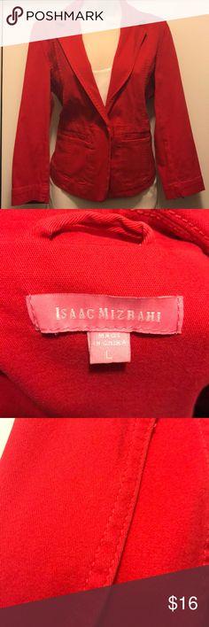Isaac Mizrahi Women's Red Blazer Size L 3/4 sleeves  97% Cotton  3% Spandex Isaac Mizrahi Jackets & Coats Blazers