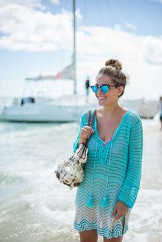 4.15 calypso st barth friends (Calypso St Barth crochet coverup + Marysia swimsuit + Ray Ban sunnies)