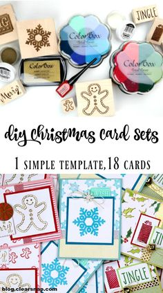 DIY Christmas Card Sets by Dana Tatar for Clearsnap. Follow 1 simple template to quickly create card sets that feature hand-stamped and embossed papers.