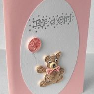 Quilled Teddy Bear - baby card