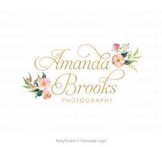 Floral logo premade logo paquet or logo photographie par NatyStudio