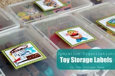 Dare to Dream.The Cottage Home: Operation Organization: Velcro Toy Storage Labels Toy Bin Labels, Diy Toy Storage, Playroom Storage, Ikea Storage, Smart Storage, Storage Ideas, Toy Organization, Organizing Toys, Classroom Organization