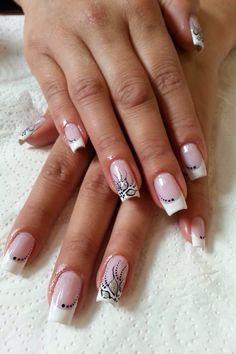 Love this shape White Nail Art, New Nail Art, White Nails, French Nail Designs, Black Nail Designs, Fingernail Designs, Gel Nail Designs, Great Nails, Love Nails