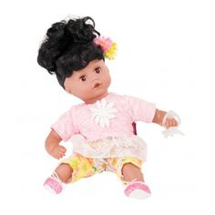 NEW! Gotz Muffin dolls with black hair. She has a soft cuddly body and vinyl limbs so that she's easily posable. She has a beautifully sculptured vinyl face and are a lovely introduction to the world of dolls for young children, Suitable for 18 months plus, the dolls can be posed in natural positions, enhancing the development of your child during role playing
