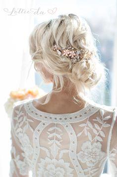 Boho Gold Halo Hair Vine Flower Crown Gold or von LottieDaDesigns