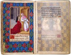 The Morgan Library & Museum Online Exhibitions - Prayer Book of Anne de Bretagne - Anne de Bretagne at Confession  Look at the gorgeous color of that gown! YUM!