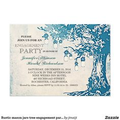 Rustic mason jars tree engagement party invitation