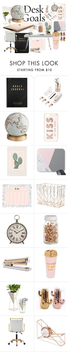 """""""tumblr rose gold desk"""" by martuvillanova ❤️ liked on Polyvore featuring interior, interiors, interior design, home, home decor, interior decorating, kikki.K, U Brands, Bellerby & Co and Kate Spade"""