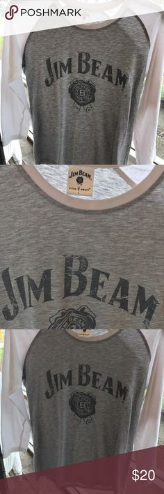 Jim Beam Women's T -Shirt Baseball style Jim Beam t-shirt | grey with white sleeves | size large | super soft material | never worn 3/4 length sleeve Jim Beam Tops Tees - Long Sleeve