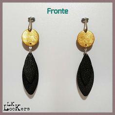 Orecchini in Pelle : ANTHEA - BLACK1 01 - leather earrings lk-lockers
