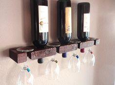 Wood Wall Wine Rack-Wall Mounted Wine Rack-Wall by AdliteCreations