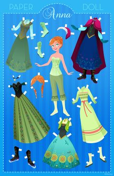 Disney Anna Free Paper Doll Kid's Craft Printables ! ( They have paper doll Printables for all the Disney Princess )