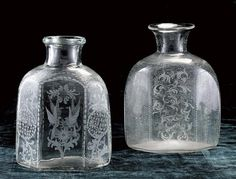 Two Hex shaped cut glass vases