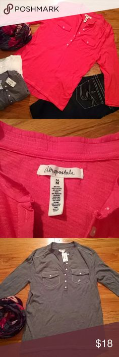 Aeropostale tops (bundle of 3) Bundle of three tops. 3/4 length sleeves, henley style,high in the front, low in the back, two pockets in the front. White, grey, and melon colors. Excellent condition. Grey is NWT. Cotton/polyester/rayon, material stretches. All three sz medium Aeropostale Tops