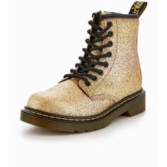 Dr Martens Delaney Glitter Boot ($93) ❤ liked on Polyvore featuring shoes, boots, dr martens boots, glitter boots, dr martens footwear, dr. martens and glitter shoes