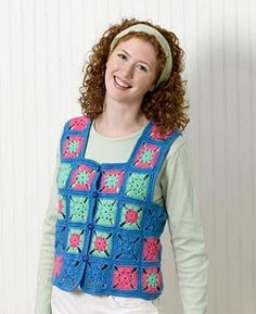 Granny Square Vest - uhmm no diagram for the granny, but once you know granny this project is a breeze, so easy to do. The only diagram you get is how to place the granny.