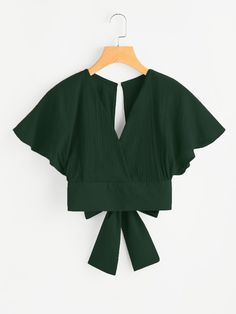 Army Green Flare Sleeve V-Neck Keyhole Back Bow Tie Top