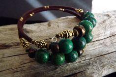 Dark Green Magnesite Boho Memory Wire Bracelet