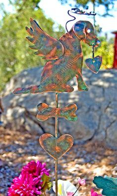 Labrador Retriever Dog Garden Stake / Metal Garden Art / Pet Memorial / Copper Art / Yard Art / Angel Dog / Pet Sculpture / Retriever Gift