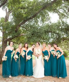 Teal bridesmaids dresses - Jennifer Weems Photography