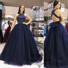 Navy Beaded Tulle A-line Prom Dresses, Elegant Long Prom Dresses, Prom – formalgowns Beaded Prom Dress, Backless Prom Dresses, A Line Prom Dresses, Quinceanera Dresses, Formal Dresses, Quince Dresses, Grad Dresses, Prom Gowns, Elegant Dresses For Women
