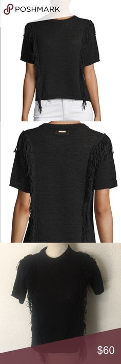 Michael kors short sleeve fringe trim sweater From neiman Marcus in amazing condition. Size xs and is pretty stretchy and can fit smalls. This is semisweet so I would wear black or nude or black undergarments. Cotton/polyester material Michael Kors Tops