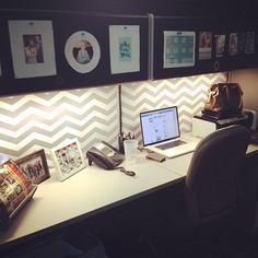 Creative DIY Cubicle Decoration Ideas- Love that chevron wallpaper! Home Office, Office Cube, Office Decor, Office Ideas, Office Chairs, Tiny Office, Office Set, Office Walls, Office Style