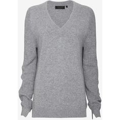 rag & bone Valentina Long-Sleeve V-Neck Sweater (1.040 BRL) ❤ liked on Polyvore featuring tops, sweaters, grey, shirts, ribbed v neck sweater, ribbed sweater, long sleeve v neck sweater, v neck sweater and grey v neck sweater