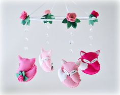 Woodland Fox mobile  baby crib mobile  roses  by LullabyMobiles