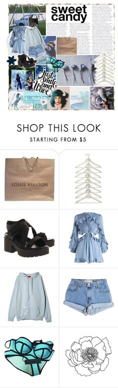 """『✧』somewhere over the rainbow"" by frxity-bxmb-galaxy ❤ liked on Polyvore featuring Louis Vuitton, Vagabond, Zimmermann, Levi's, Triangl and fashysfashions"