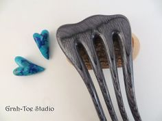 Hair Fork Spectraply Wood Charocoal Mini Long by grahtoestudio