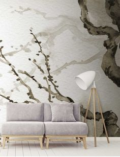 This Japanese tree wall mural was originally hand-painted using an eastern ink brush style. The branches of the tree are covered with the. Chinoiserie Wallpaper, Unique Wallpaper, Tree Wallpaper, Custom Wallpaper, Wallpaper Murals, Nature Wallpaper, Japanese Wall, Japanese Tree, Vintage Japanese