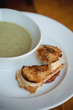 Creamy broccoli soup with grilled cheese sandwiches.   Barr Mansion,  Austin TX  |||  She-N-He Photography.