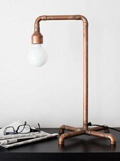 Diy Lampe Aus Kupferrohr Wohnideen Metallrohr Stehlampe Dekorieren Kupfer Lampenschirm