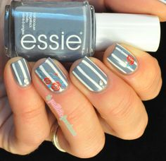 Essie truth or flare and Born pretty store roses water decal