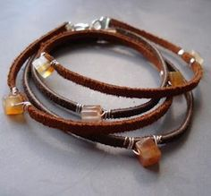 Nice tutorial, simple and beautiful. Leather bracelet - stones wrapped on with wire