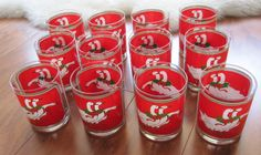 12 Culver Glass Red White Gold Goose Double Old Fashioned Christmas Glasses