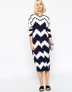 ASOS WHITE Block Print Knit Dress
